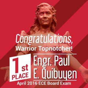 CONGRATULATIONS, WARRIOR TOPNOTCHER! ENGR. PAUL E. QUIBUYEN