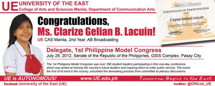 Clarize Gelian Lacuin congratulatory streamer