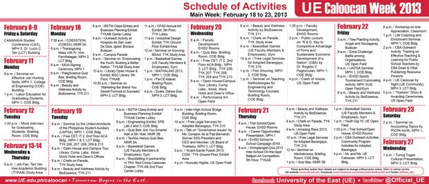 UE Caloocan Week 2013 Schedule (CS6)