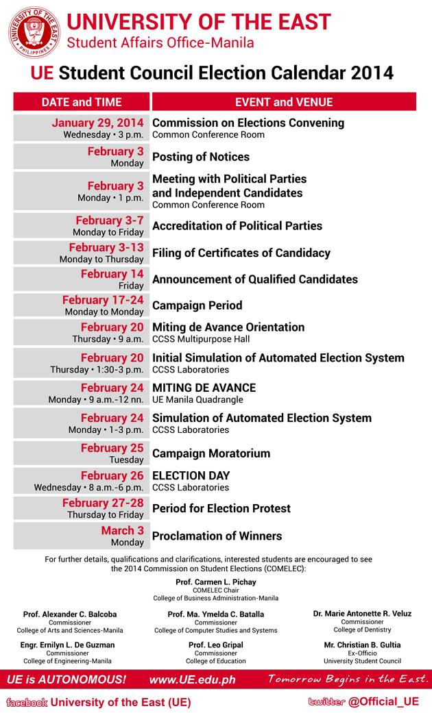 UE Manila SC Election Calendar 2014