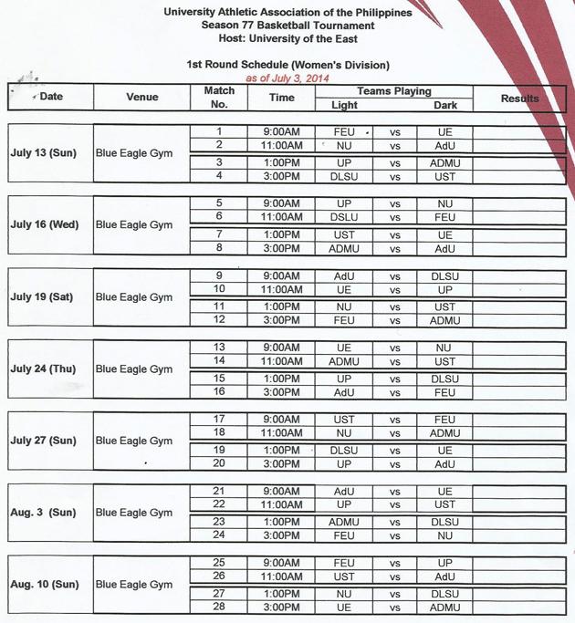 Women's Volleyball UAAP Season 77 Schedule