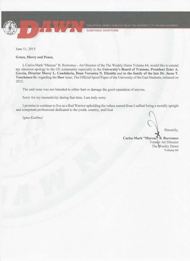 letter of apology by Dawn artist Mark Borromeo, June  2015